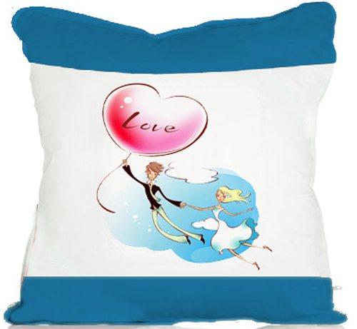 蓝色彩边抱枕